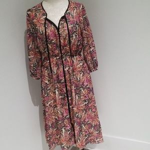 Pink Martini butterfly print maxi dress large GUC